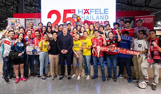 Oliver Kahn bei der Firma Häfele in Bangkok im Kreise seiner Fans. Foto: Häfele Thailand