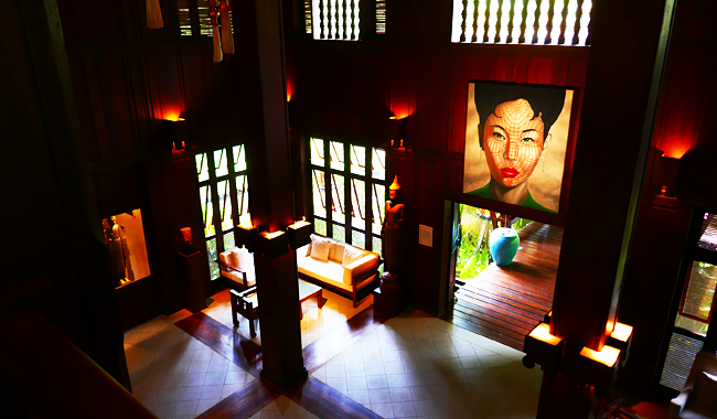 "Lobby der ""Belmond La Résidence d'Angkor"". Gemälde: Christian Develter"